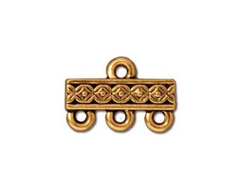 2 Antique Gold Links Tierra Cast 3-1 Three Strand Connector Deco Rose Pattern Double Sided 15x10mm Two Connectors 2 pcs