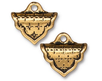 Marrakesh Crimp End TierraCast 22kt Gold plate with Antiqued Finish for Loom or Stitched Beadwork 19x17mm 2 pcs F183D