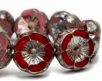 Ruby Red Picasso Hibiscus Flower 12mm Czech Table Cut Glass Carved Hawaiian Flower Coin Beads 12 beads