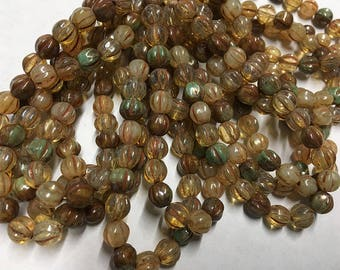 6mm Melon Beads Champagne Turquoise Picasso Mix Czech Pressed Glass Round Corrugated Melon Beads 6mm 25 beads