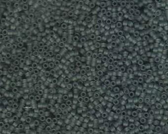 11/0 Miyuki Delica Matte Transparent Grey Glass Seed Cylinder Beads 7.2 grams DB749