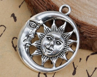 Clearance 5 Sun and Moon Face Pendants Charms Single Sided Antique Silver 30mm x 26mm C211A