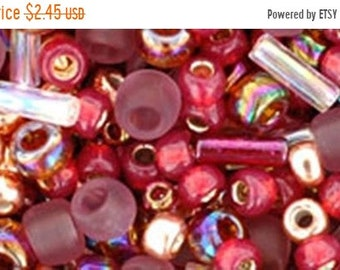 ON SALE Mauve Gold Mix Toho Glass Seed Beads 2.5 inch tube 8 grams TX-01-3217