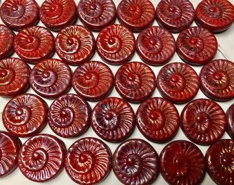 6 Hyacinth Purple Luster Spiral Beads Czech Glass Round Coin Ammonite Nautilus Shell Swirl Beads 18mm 6 pcs