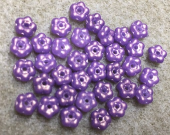 Daisy Flower Spacers Purple Teeny Tiny Czech Glass Buttercup Daisy Disk Spacer Beads 5mm 35 beads