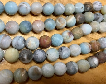 Amazonite Black Gold Gemstone Rounds 12mm Approx 16 pcs per 8 inch strand