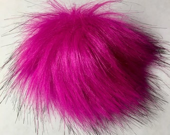 "Hot Pink Fuchsia Imitation Fox Fur Faux Fur Pom Pom Ball with Loop for Craft Projects Hat Decoration Knitting Crochet 80mm (3 1/8"")"