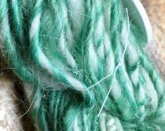 Snowy Pines Hand-spun Yarn Mohair Polwarth Wool Glitz 2 ply by Housecats Hats 54 yards