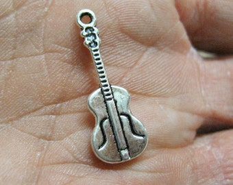 10 Guitar Double Sided Antique Silver Charms 10mm x 26mm BIN3.63