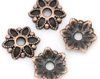 40 Flower Bead Caps 6 Petal Filigree Flower Cap 7mm Antique Copper 40 pcs F569B