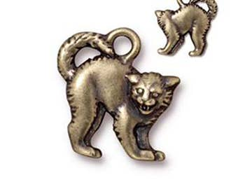 Scary Cat Charm Antique Bronze Arch Back Cat Pendant Charm TierraCast Lead Free Pewter 18mm x 16mm 1 pc F397CB