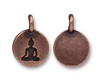 Buddha Charm Yoga Meditation Antique Copper Small Buddha Charm TierraCast Lead Free Pewter 17mm x 12mm 1 pc