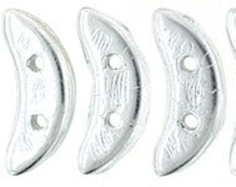 Crescent Beads Silver Color Trends Two Hole Czech Mates Czech Pressed Glass 3x10mm 8.9 grams