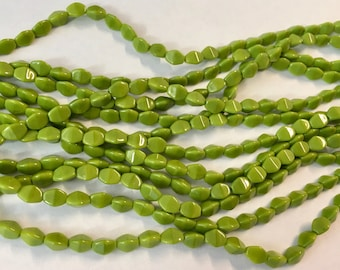 Pinch Beads Saturated Chartreuse Opaque Czech Pressed Glass 5x3mm 50 beads