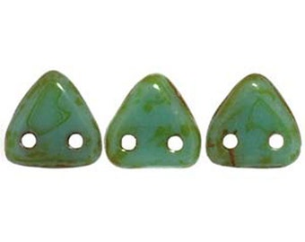 Opaque Turquoise Picasso Two Hole Czech Mates Czech Glass Triangle Beads 6mm 9 grams TRI06-T63130