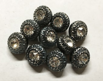 Montana Black White Rhinestone Round Czech Glass Button with Silver Detail with Shank 13mm 2 buttons