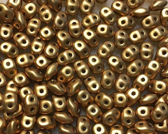 Antique Gold Matte Satin Czech Pressed Glass Super Duo Two Hole Seed Beads 2.5mm x 5mm 12 grams