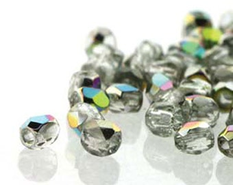 Crystal Vitrail 2mm True Fire Polish Czech Glass Crystal Beads 100 beads