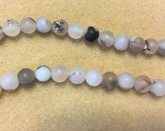 Clearance White Agate with Gray 8mm Matte Rounds 8 inch Strand Approx 24 beads Last one