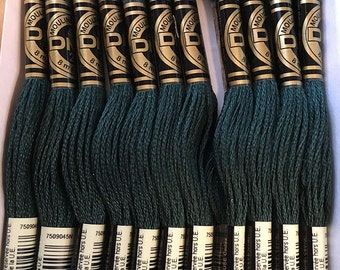DMC 500 Very Dark Blue Green Embroidery Floss 2 Skeins 6 Strand Thread for Embroidery Cross Stitch Needlepoint Sewing Beading