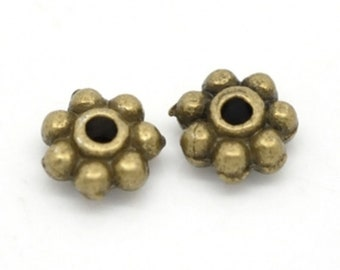 Antique Bronze Pewter Heishe Daisy Spacers Rondelles 5mm Approx. 100 Beads