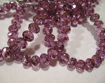 Purple Rose Metallic Czech Pressed Glass Large Faceted Rondelles 6mm x 8mm