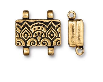TierraCast Antiqued Copper Finish Temple Stitch-in Strong Magnetic Clasp for Seed Beads and Shaped Beadwork 16x13mm One clasp