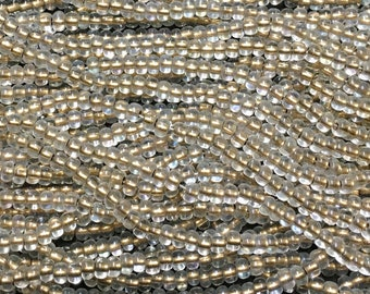 1/0 Bronze Lined Crystal AB Large Hole Czech Glass Seed Beads Big Seeds One Strand