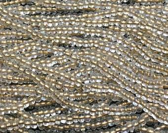 1/0 Bronze Lined Crystal AB Large Hole Czech Glass Seed Beads Big Seeds One Strand