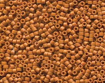 11/0 Miyuki Delica Frost Opaque Glazed Burnt Orange Glass Seed Cylinder Beads 7.2 grams DB2287
