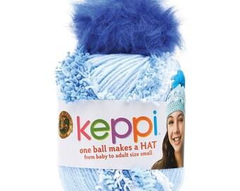 Clearance Keppi Yarn Crochet Hat Kit Little Boy Blue Kids Teens Hat Kit Top This by Lion Brand