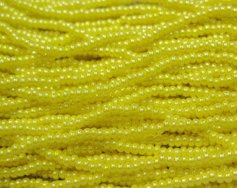 11/0 Opaque Yellow Luster Czech Glass Seed Beads 19 grams