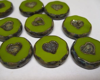 Clearance 2 Avocado Green Extra Large Chunky Czech Pressed Glass Carved Heart Coin Table Cut Beads with Silver Picasso Finish 21mm