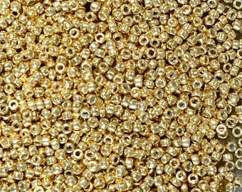 15/0 Gold Metallic GalvanizedMiyuki Glass Seed Beads 6 inch tube 28 grams #471