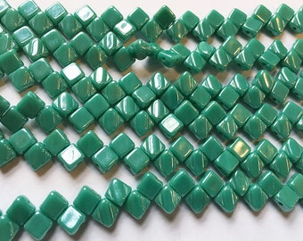 Turquoise Green White Luster Two Hole Silky Czech Pressed Glass 6mm Two Hole Angled Square Beads 40 pcs