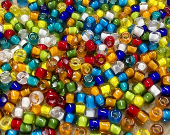 6/0 Multi Color Crystal White Lined Mix Japanese Seed Beads 6 Inch Tube 28 grams