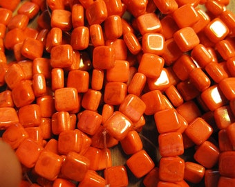 Opal Orange Czech Mates Two Hole Tile Beads Czech Pressed Glass Square Beads 6mm