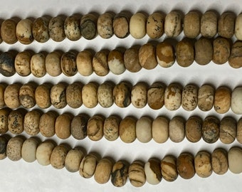 Picture Jasper Matte SmoothGemstone Rondelle Beads 4x6mm Approx 46 beads 8 Inch strand