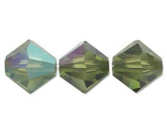 Olivine AB 5328 Bicone Swarovski Crystal Beads 3mm approx. 48 pcs