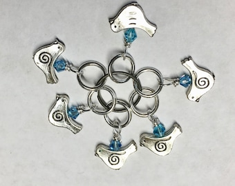 Little Silver Bird Set of 6 Bead Stitch Markers with Blue Swarovski Crystals for Knitting