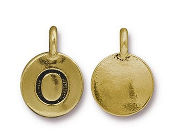 "Letter ""O"" Initial Pendant Tiny Gold Charm TierraCast Antique Gold Alphabet Charms TierraCast Lead Free Pewter 16.5x11.5mm One Charm"