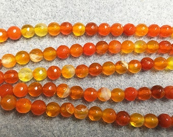 Clearance Agate Orange Round Faceted Gemstone Beads 6mm