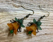 Vintage Inspired Earrings Orange Acrylic Bell Flowers Antique Bronze Filigree Petals with Fire Polished Crystals