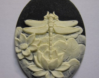Dragonfly and Water Lily Vintage Look Black Cameo Jewelry Cabochon Pendant 40mm x 30mm