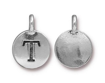 "Letter ""T"" Initial Pendant Tiny Silver Charm TierraCast Antique Silver Alphabet Charms TierraCast Lead Free Pewter 16.5x11.5mm One Charm"