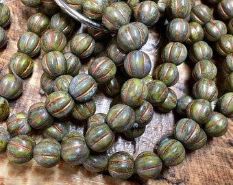 8mm Melon Beads Artichoke Copper Brown Picasso Czech Pressed Glass Round Corrugated Melon Beads 8mm 20 beads