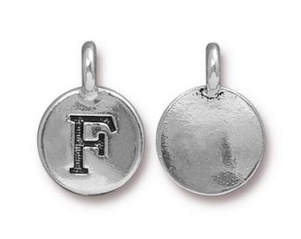"Letter ""F"" Initial Pendant Tiny Silver Charm TierraCast Antique Silver Alphabet Charms Lead Free Pewter 16.5x11.5mm One Charm F293"