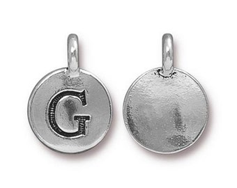 "Letter ""G"" Initial Pendant Tiny Silver Charm TierraCast Antique Silver Alphabet Charms Lead Free Pewter 16.5x11.5mm One Charm F293"