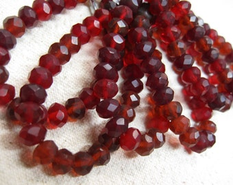Ruby Red Matte Czech Pressed Glass Large Faceted Rondells 6mm x 8mm