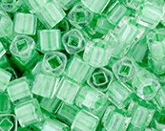 Crystal Mint Julep Lined 3mm Toho Cube Beads 2.5 inch Tube 8 grams TC-03-354